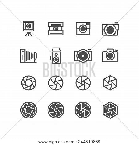 Photo Camera, Camcorder, Photographer Icons. Objective Capture Focus, Aperture Black Silhouette Symb
