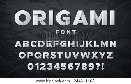 Modern White Paper Font. Origami Folded Letters And Numbers. Vector Alphabet White, Type Font Paper