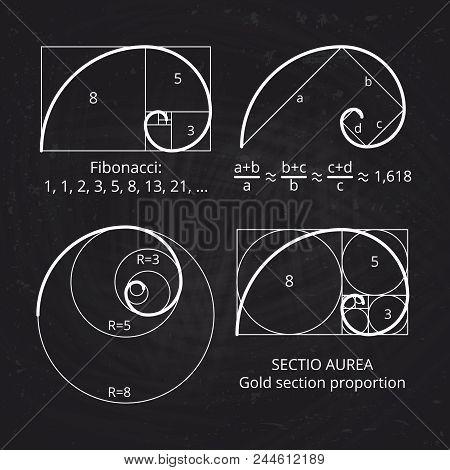 Scheme Of Golden Ratio Section, Fibonacci Spiral On Blackboard Vector Illustration. Geometric Harmon