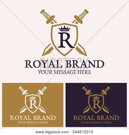 Letter R With Crown And Shield With Two Crossed Swords Vector Logo Template For Uses In Different Sp
