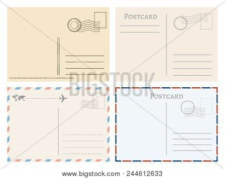 Vintage Paper Postal Cards. Greetings From Postcard Vector Template. Postage Card, Vintage Post Stam