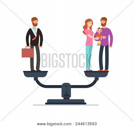 Businessman And Happy Family With Kids On Scales. Work And Life Balance Business Vector Concept. Fam