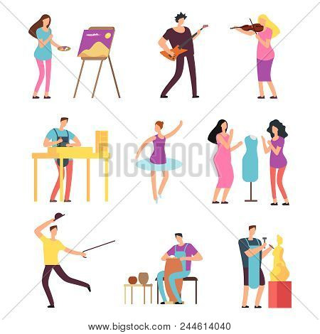Cartoon Artists And Musicians Vector Isolated Characters In Creative Artistic Hobbies. People Hobby,