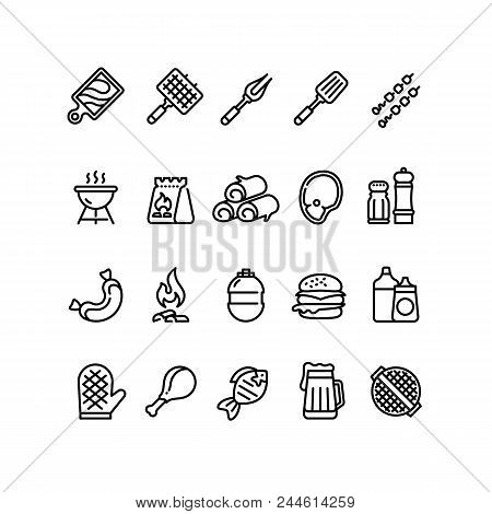Hot Barbecue And Grill Line Icons. Bbq Outdoor Kitchen Vector Isolated Symbols. Food Sausage And Bur