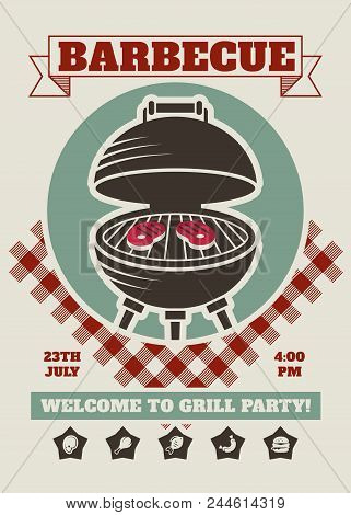 Retro Barbecue Party Restaurant Invitation Template. Bbq Cookout Vector Poster With Classic Charcoal
