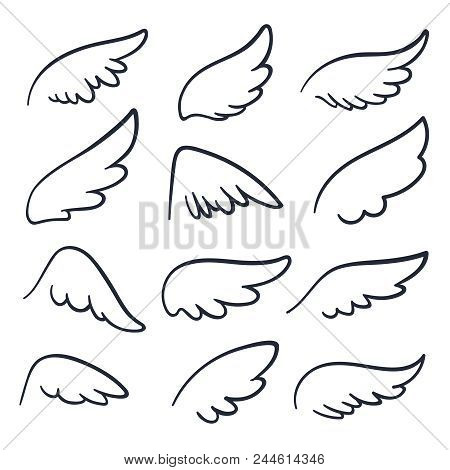 Cartoon Angel Wings. Winged Doodle Sketch Icons. Angels And Bird Vector Symbols Isolated. Wing Sketc