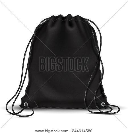 Sport Backpack, Backpacker Bag With Drawstrings. 3d Black Schoolbag. Isolated Vector Illustration. K