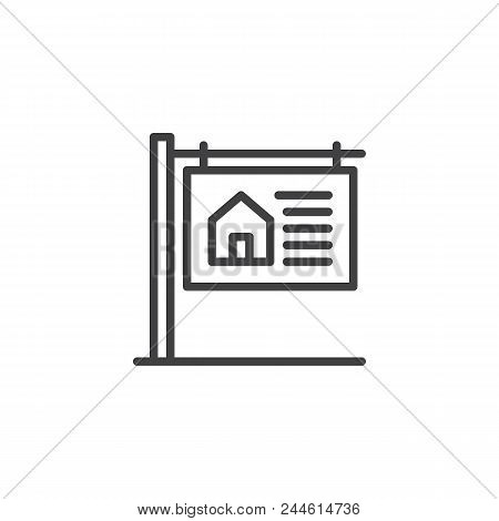 House For Sale Signboard Outline Icon. Linear Style Sign For Mobile Concept And Web Design. Real Est