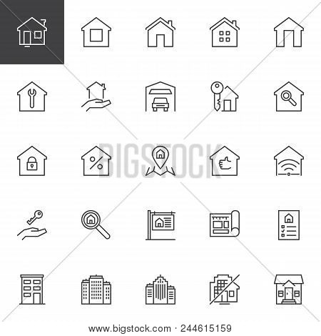 Real Estate Outline Icons Set. Linear Style Symbols Collection, Line Signs Pack. Vector Graphics. Se