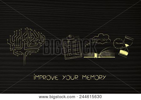 Thoughts And Memory Conceptual Illustration: Digital Brain Next To Memory Icon Made By Book With To