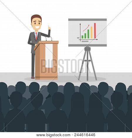 Business Presentation Illustration. Man Presenting With Board.