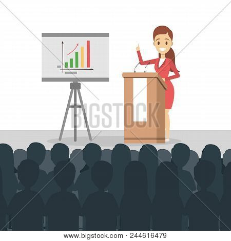Business Presentation Illustration. Woman Presenting With Board.