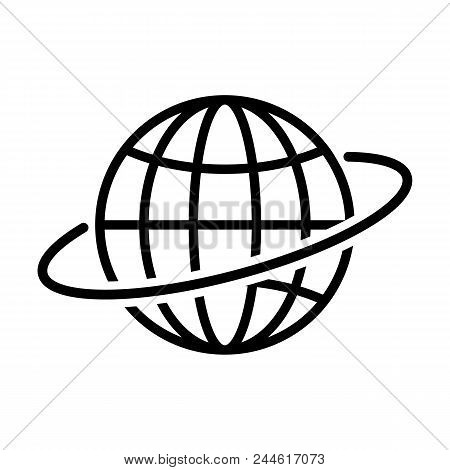 Globe Outline Icon In Flat Style. Earth Symbol Isolated On White Background. Globe Icon. Simple Abst