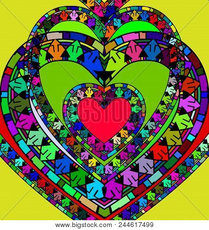 Abstract Colored Background Image Of Heart Consisting Of Lines And Figures