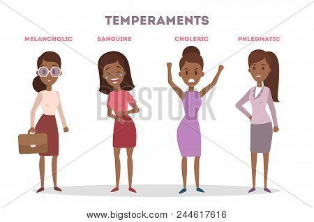 People Temperaments Set. Choleric And Melancholic, Sanguine And Phlegmatic.