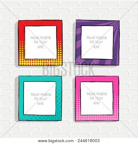 Cartoon Style. Decorative Vector Template Frame. These Photo Frames You Can Use For Kids Picture Or