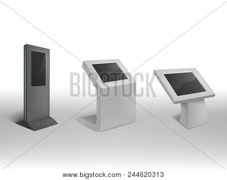Vector 3d Realistic Digital Informational Kiosks. Interactive Digital Signage, Stand With Blank Scre