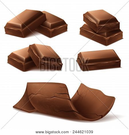 Vector 3d Realistic Chocolate Pieces. Brown Delicious Bars And Chocolate Shavings For Packaging Mock