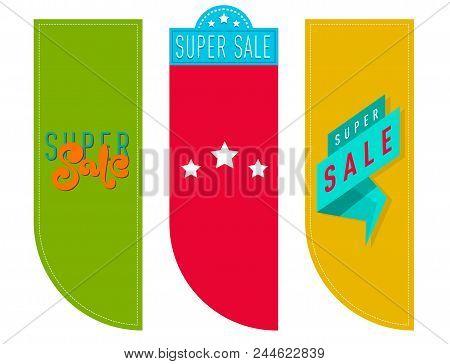 Super Sale Extra Bonus Banners Text In Color Drawn Labels Business Concept Vector. Internet Promotio
