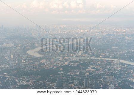 Aerial view of Bangkok metropolis and Chaophraya river. Thailand. poster