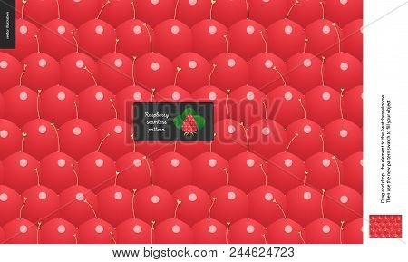 Food Patterns, Summer - Fruit, Raspberry Peel Texture, Tiny Raspberry Image In The Center - A Seamle
