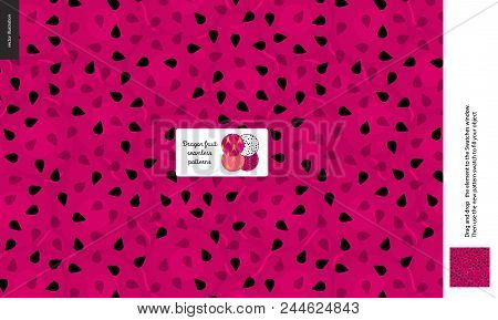 Food Patterns, Summer - Fruit, Dragonfruit Texture, Small Half Of A Dragon Fruit Image In The Center