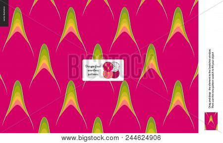 Food Patterns, Summer - Fruit, Dragonfruit Texture, Tiny Half Of Dragon Fruit Image In The Center -