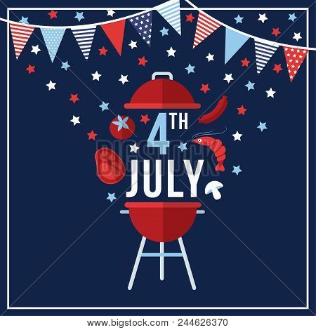 Happy Independence Day, 4th July National Holiday. Festive Greeting Card, Invitation With Bunting Fl
