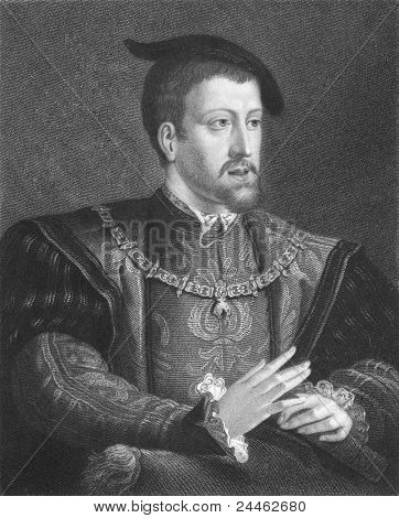 Charles V (1500-1558). Engraved by W. Holl and published in The Gallery Of Portraits With Memoirs, United Kigndom, 1833.