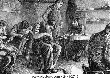 Shoemaking at the philanthropic society's farm school at redhill. Engraved by anonymous engraver and published in The Graphic newspaper, United Kingdom, 1872.