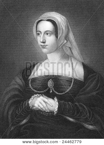 Catherine Parr (1512-1548). Engraved by H.T.Ryall and published in Lodge's British Portraits, United Kingdom, 1823.
