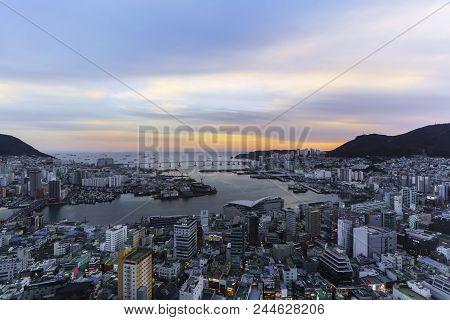 Busan Metropolitan City , South Korea - February 17 , 2018 : Beautiful Scenery From Busan Tower In T