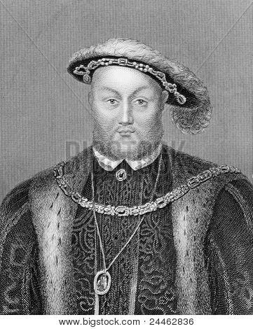 Henry VIII (1491-1547). Engraved by Bocquet and published in the Catalogue of the Royal and Noble Authors, United Kingdom, 1806. poster