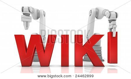 Industrial robotic arms building WIKI word on white background poster