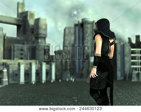 3d Rendering Of A Man Wearing A Gas Mask And Holding A Rifle In A Futuristic Dystopian World. Indust