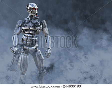 3d Rendering Of A Futuristic Mech Soldier Holding A Gun In A Polluted Futuristic Dystopian World. To