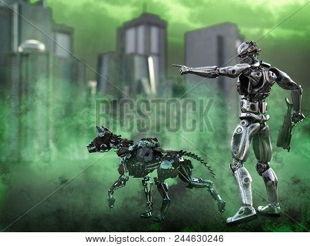 3d Rendering Of A Futuristic Mech Soldier Holding A Rifle And Pointing With A Dog Beside Him In A Po