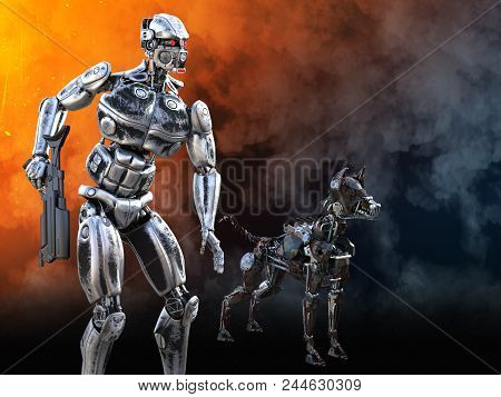 3d Rendering Of A Futuristic Mech Soldier Holding A Rifle With A Dog Beside Him In A Futuristic Dyst
