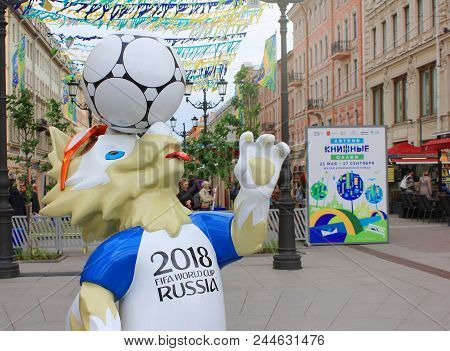 St. Petersburg, Russia - June 7, 2018: Official Mascot Of Fifa 2018 World Cup In Russia - Zabivaka O