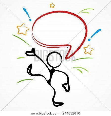 Stick Figure With Idea Dialog Speech Bubble On White, Linear. Vector Illustration.
