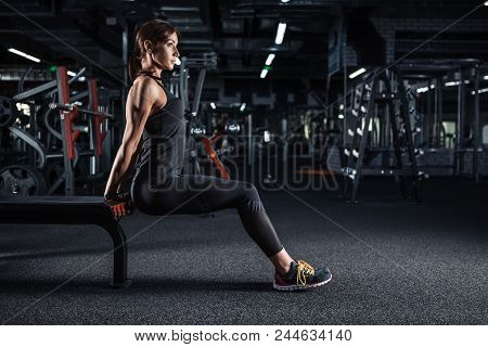 Sportive Young Woman In A Gym Training. Working Out In A Fitness Gym.