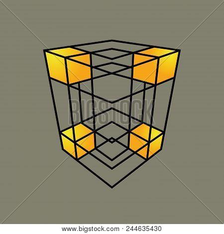 Cubic Lattice Symbol Isolated On Dark Background