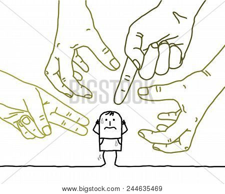 Big Hands With Cartoon Character - Aggression And Paranoia
