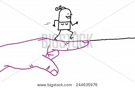 Big Hand With Cartoon Character - Go Sign And Running Woman