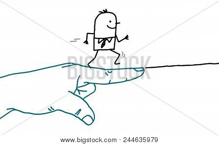 Big Hand With Cartoon Character - Go Sign And Running Man