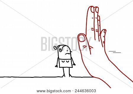 Big Hand With Cartoon Character - Stop Sign Facing A Woman