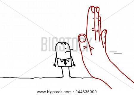 Big Hand With Cartoon Character - Stop Sign Facing A Man