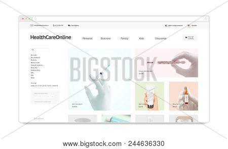 Medicine Webstore Site Template Mock Up Isolated, 3d Rendering. Health Care Web Page Interface Mocku