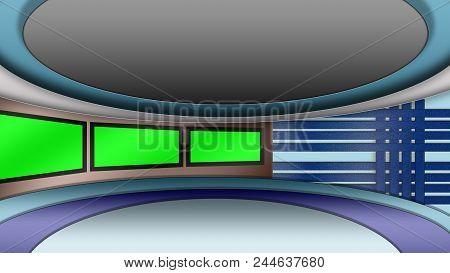 Virtual Tv News Studio Set With Green Screens