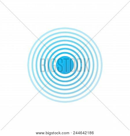 Blue And White Rings. Sound Wave Wallpaper. Radio Station Signal. Vector Stock Illustration.
